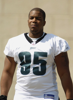 BETHLEHEM, PA - JULY 31:  Defensive end Jerome McDougle #95 of the Philadelphia Eagles attends training camp on July 30, 2004 at Lehigh University in Bethlehem, Pennsylvania. (Photo by Greg Fiume/Getty Images)