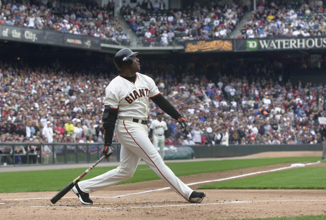 7 Oct 2001:  Barry Bonds #25 of the San Francisco Giants watches his 73rd home run hit against the Los Angeles Dodgers during the first inning at Pacific Bell Park in San Francisco, California.  DIGITAL IMAGE. Mandatory Credit: Harry How/ALLSPORT