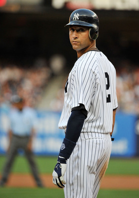 NEW YORK, NY - JUNE 10: Derek Jeter #2 of the New York Yankees  stands on third base in the bottom of the first inning against the Cleveland Indians on June 10, 2011 at Yankee Stadium in the Bronx borough of New York City. (Photo by Christopher Pasatieri/