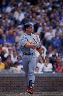 7 Jun 2001:  Mark McGwire #25 of the St. Louis Cardinals struck out at bat during the game against the Chicago Cubs at Wrigley Field in Chicago, Illinois.  The Cubs defeated the Cardinals 4-3.Mandatory Credit: Jonathan Daniel  /Allsport
