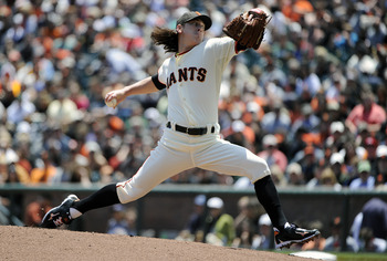 SAN FRANCISCO, CA - JUNE 11: Tim Lincecum #55 of the San Francisco Giants pitches against the Cincinnati Reds in the first inning during a MLB baseball game June 11, 2011 at AT&T Park in San Francisco, California. (Photo by Thearon W. Henderson/Getty Imag