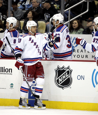 PITTSBURGH, PA - MARCH 20:  Marian Gaborik #10 of the New York Rangers celebrates his third period goal against the Pittsburgh Penguins at Consol Energy Center on March 20, 2011 in Pittsburgh, Pennsylvania.  The Rangers defeated the Penguins 5-2.  (Photo