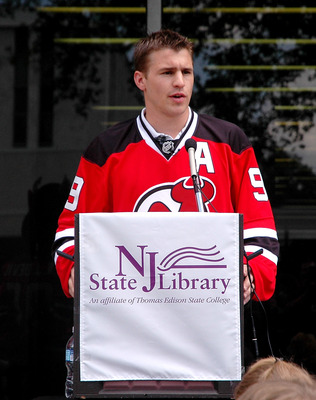TRENTON, NJ - MAY 25: New Jersey Devils forward Zach Parise addresses young students during Zach Parise Reads to Students at the State Library on May 25, 2010 in Trenton, New Jersey. (Photo by Andy Marlin/Getty Images for the New Jersey Devils)