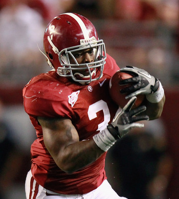 TUSCALOOSA, AL - SEPTEMBER 11:  Trent Richardson #3 of the Alabama Crimson Tide rushes against the Penn State Nittany Lions at Bryant-Denny Stadium on September 11, 2010 in Tuscaloosa, Alabama.  (Photo by Kevin C. Cox/Getty Images)