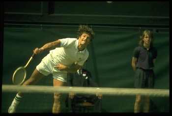 JUL 1973:  JAN KODES OF CZECHOSLOVAKIA MAKES A SERVE DURING A MATCH AT THE 1973 WIMBLEDON TENNIS CHAMPIONSHIPS. KODES WON THE CHAMPIONSHIP AFTER DEFEATING METREVELI IN STRAIGHT SETS.