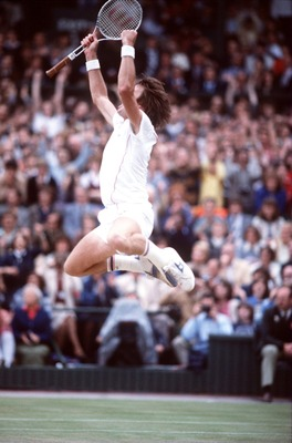 JUL 1982:  A PICTURE SHOWING JIMMY CONNORS OF THE UNITED STATES AS HE JUMPS FOR JOY AFTER BEATING MCENROE TO WIN HIS SECOND WIMBLEDON TENNIS CHAMPIONSHIP Mandatory Credit: Steve Powell/ALLSPORT