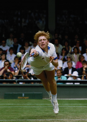 Boris Becker of Germany stretches to make a diving backhand return from  Anders Jarryd during the Men's singles semi final of the Wimbledon Lawn Tennis Championship on 5th July 1985 at the All England Lawn Tennis and Croquet Club in Wimbledon in London, E