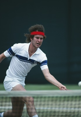 American tennis player John McEnroe competing at Wimbledon, 1981. McEnroe went on to win the men's singles title. (Photo by Steve Powell/Getty Images)
