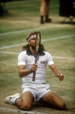 JUL 1980:  A PICTURE SHOWING BJORN BORG OF SWEDEN AS HE CELEBRATES WINNING THE WIMBLEDON TENNIS CHAMPIONSHIP FOR THE FIFTH YEAR RUNNING AFTER BEATING JOHN MCENROE Mandatory Credit: Tony Duffy/ALLSPORT