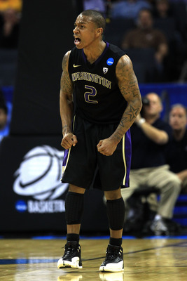 CHARLOTTE, NC - MARCH 20:  Isaiah Thomas #2 of the Washington Huskies reacts in the second half while taking on the North Carolina Tar Heels during the third round of the 2011 NCAA men's basketball tournament at Time Warner Cable Arena on March 20, 2011 i