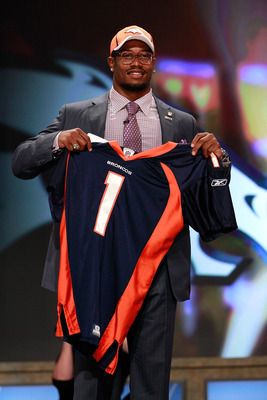 NEW YORK, NY - APRIL 28:  Von Miller, #2 overall pick by the Denver Broncos holds up a jersey on stage during the 2011 NFL Draft at Radio City Music Hall on April 28, 2011 in New York City.  (Photo by Chris Trotman/Getty Images)