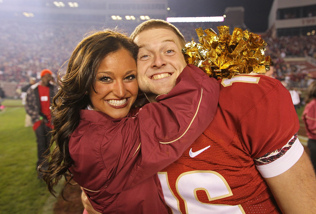TALLAHASSEE, FL - NOVEMBER 27:  Dustin Hopkins #16 of the Florida State Seminoles celebrates a win against the Florida Gators at Doak Campbell Stadium on November 27, 2010 in Tallahassee, Florida.  (Photo by Mike Ehrmann/Getty Images)