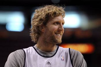 MIAMI, FL - JUNE 11:  Dirk Nowitzki #41 of the Dallas Mavericks smiles during practice prior to Game 6 of the 2011 NBA Finals against the Miami Heat at the American Airlines Arena on June 11, 2011 in miami, Florida. Game 6 will be played on June 12. NOTE