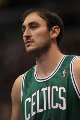 LOS ANGELES, CA - FEBRUARY 26:  Nenad Krstic #4 of the Boston Celtics stands on the court during the game with the Los Angeles Clippers at Staples Center on February 26, 2011  in Los Angeles, California.  The Celtics won 99-92.   NOTE TO USER: User expres