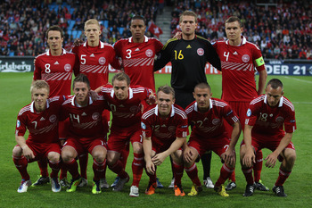 AALBORG, DENMARK - JUNE 11: Denmark team group during the UEFA European Under-21 Championship Group A match between Denmark and Switzerland at the Aalborg Stadium on June 11, 2011 in Aalborg, Denmark.  (Photo by Michael Steele/Getty Images)