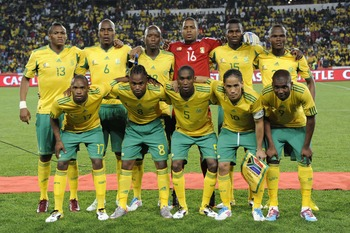 JOHANNESBURG, SOUTH AFRICA - MARCH 26:  South Africa starting team poses during the 2012 Africa Cup of Nations Qualifier match between South Africa and Egypt at Coca Cola Park on March 26, 2011 in Johannesburg, South Africa.  (Photo by Samuel Shivambu/Gal