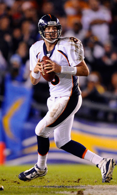 SAN DIEGO - NOVEMBER 22:  Quarterback Kyle Orton #8 of the Denver Broncos in action against San Diego Chargers at Qualcomm Stadium on November 22, 2010 in San Diego, California.  Chargers defeated the broncos, 35-14.  (Photo by Kevork Djansezian/Getty Ima