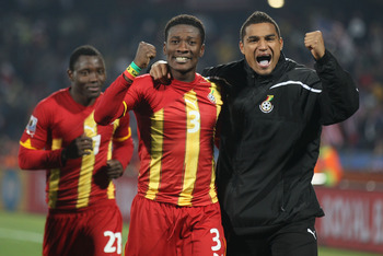 RUSTENBURG, SOUTH AFRICA - JUNE 26:  Goalscorers Asamoah Gyan (C) and Kevin Prince Boateng (R) of Ghana celebrate victory during the 2010 FIFA World Cup South Africa Round of Sixteen match between USA and Ghana at Royal Bafokeng Stadium on June 26, 2010 i