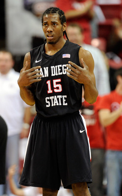 LAS VEGAS, NV - FEBRUARY 12:  Kawhi Leonard #15 of the San Diego State Aztecs reacts after mistakenly being called for a foul during a game against the UNLV Rebels at the Thomas & Mack Center February 12, 2011 in Las Vegas, Nevada. San Diego State won 63-