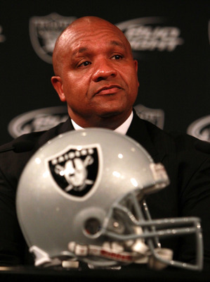ALAMEDA, CA - JANUARY 18:  New Oakland Raiders coach Hue Jackson looks on during a press conference on January 18, 2011 in Alameda, California.  Hue Jackson was introduced as the new coach of the Oakland Raiders, replacing the fired Tom Cable.  (Photo by