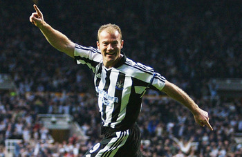 NEWCASTLE, ENGLAND - APRIL 14:  Alan Shearer of Newcastle United celebrates the first goal during the UEFA Cup Quarter Final Second Leg match between Newcastle United and PSV Eindhoven at St James Park, on April 14, 2004 in Newcastle, England.  (Photo by