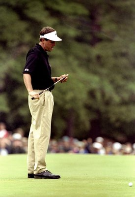 20 Jun 1999:  Phil Mickelson of the United States misses a vital putt on the 17th hole during the last day of the 1999 US Open played on the number two course at Pinehurst in North Carolina, USA. \ Mandatory Credit: David Cannon /Allsport