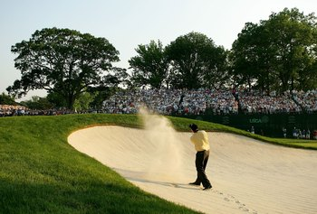 MAMARONECK, NY - JUNE 18:  Phil Mickelson hits a shot from the bunker on the 18th hole during final round of the 2006 US Open Championship at Winged Foot Golf Club on June 18, 2006 in Mamaroneck, New York. Geoff Ogilvy won the US Open with a one stroke vi