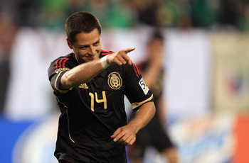 CHARLOTTE, NC - JUNE 09:  Javier Hernandez #14 of Mexico celebrates after scoring a goal against Cuba during their game in the CONCACAF Gold Cup at Bank of America Stadium on June 9, 2011 in Charlotte, North Carolina.  (Photo by Streeter Lecka/Getty Image