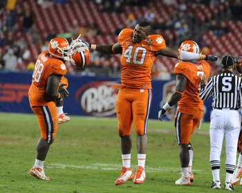 TAMPA, FL - NOVEMBER 28: Defensive end Andre Branch #40 of the Clemson Tigers celebrates a sack against the Georgia Tech Yellow Jackets  in the 2009 ACC Football Championship Game December 5, 2009 at Raymond James Stadium in Tampa, Florida.  (Photo by Al