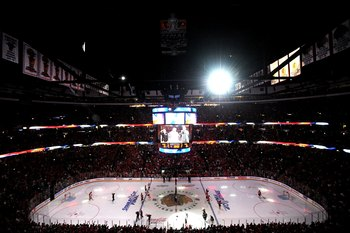 CHICAGO - MAY 31:  A general view inside the United Center during the national anthem before Game Two of the 2010 NHL Stanley Cup Final between the Chicago Blackhawks and the Philadelphia Flyers on May 31, 2010 in Chicago, Illinois.  (Photo by Michael Hei