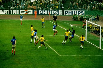 13 Jun 1974:  General view of goalmouth action during the 1974 World Cup match between Brazil and Yugoslavia played at the Waldstadion in Frankfurt, West Germany. The match ended in a 0-0 draw.   \ Mandatory Credit: Allsport UK /Allsport