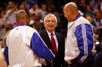 OKLAHOMA CITY - OCTOBER 29:  NBA Commissioner David Stern (C) talks with referees before the Milwaukee Bucks play the Oklahoma City Thunder at the Ford Center on October 29, 2008 in Oklahoma City, Oklahoma. NOTE TO USER: User expressly acknowledges and ag