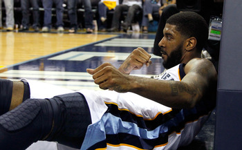 MEMPHIS, TN - MAY 13:  O.J. Mayo #32 of the Memphis Grizzlies reacts after making a basket and drawing a foul from the Oklahoma City Thunder in Game Six of the Western Conference Semifinals in the 2011 NBA Playoffs at FedExForum on May 13, 2011 in Memphis
