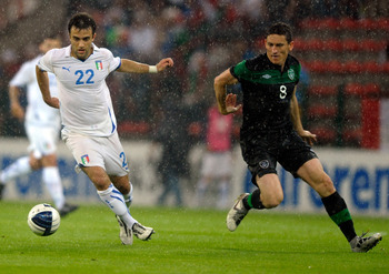 LIEGE, BELGIUM - JUNE 07:  Giuseppe Rossi (L) of Italy during the international friendly match between Italy and Ireland at Stade Maurice Dufrasne on June 7, 2011 in Liege, Belgium.  (Photo by Claudio Villa/Getty Images)