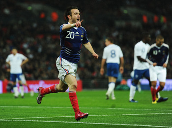 LONDON, ENGLAND - NOVEMBER 17:  Mathieu Valbuena of France celebrates as he scores their second goal during the international friendly match between England and France at Wembley Stadium on November 17, 2010 in London, England.  (Photo by Laurence Griffit