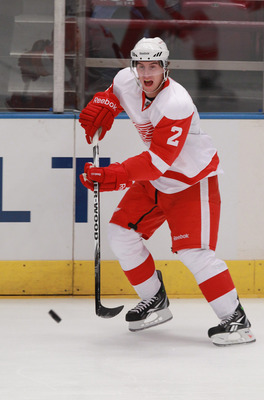 NEW YORK - SEPTEMBER 29: Brendan Smith #2 of the Detroit Red Wings skates against the New York Rangers at Madison Square Garden on September 29, 2010 in New York City. The Rangers defeated the Red Wings 5-1. (Photo by Bruce Bennett/Getty Images)