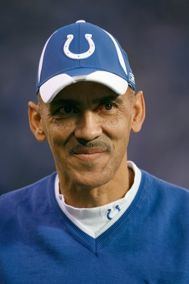 INDIANAPOLIS - DECEMBER 28:  Head coach Tony Dungy of the Indianapolis Colts smiles during the game against the Tennessee Titans on December 28, 2008 at Lucas Oil Stadium in Indianapolis, Indiana. (Photo by: Jamie Squire/Getty Images)