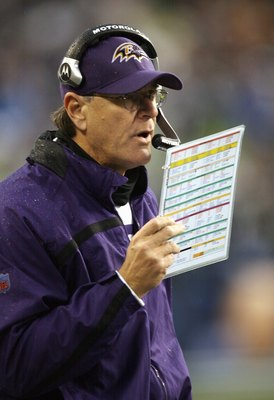 SEATTLE - DECEMBER 23: Brian Billick of the Baltimore Ravens calls the play during the game against the Seattle Seahawks at Qwest Field on December 23, 2007 in Seattle, Washington. (Photo by Otto Greule Jr/Getty Images)