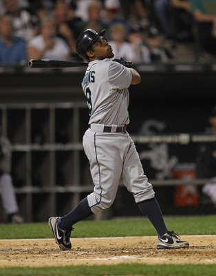 CHICAGO, IL - JUNE 06:  Chone Figgins #9 of the Seattle Mariners hits the ball against the Chicago White Sox at U.S. Cellular Field on June 6, 2011 in Chicago, Illinois. The White Sox defeated the Mariners 3-1.  (Photo by Jonathan Daniel/Getty Images)
