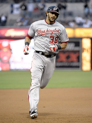 SAN DIEGO, CA - JUNE 10:  Michael Morse #38 of the Washington Nationals rounds the bases after hitting a two-run homer hits during the second inning of a baseball game against the San Diego Padres at Petco Park on June 10, 2011 in San Diego, California.