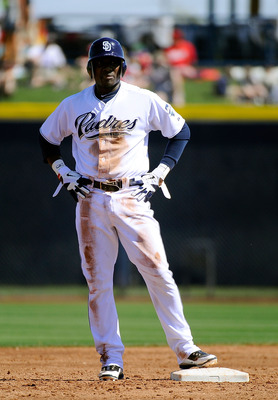 PEORIA, AZ - MARCH 13:  Orlando Hudson #1 of the San Diego Padres plays against the Cleveland Indians during the spring training baseball game at Peoria Stadium on March 13, 2011 in Peoria, Arizona.  (Photo by Kevork Djansezian/Getty Images)