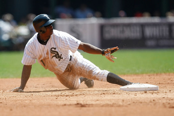 CHICAGO, IL- JUNE 5: Juan Pierre #1 of the Chicago White Sox slides against The Detroit Tigers at U.S. Cellular Field on June 5, 2011 in Chicago, Illinois. The Tigers defeated the White Sox 7-3. (Photo by Scott Boehm/Getty Images)
