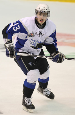 MISSISSAUGA, CANADA - MAY 20:  Tomas Jurco #13 of the Saint John Sea Dogs skates against the Mississauga St. Michael's Majors in the opening game of the 2011 Mastercard Memorial Cup at the Hershey Centre in Mississauga, Canada. The Sea Dogs defeated the M