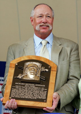 COOPERSTOWN, NY - JULY 27:  Hall of Fame inductee Rich 'Goose' Gossage holds his plaque at Clark Sports Center during the Baseball Hall of Fame induction ceremony on July 27, 2008 in Cooperstown, New York.  (Photo by Jim McIsaac/Getty Images)
