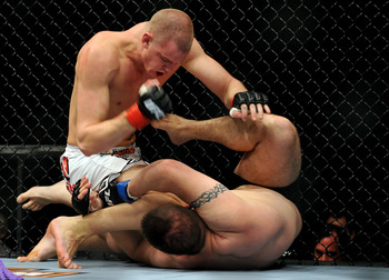 LOS ANGELES, CA - OCTOBER 24:  UFC fighter Chase Gormley (R) battles with UFC fighter Stefan Struve (L) during their Heavyweight bout at UFC 104: Machida vs. Shogun at Staples Center on October 24, 2009 in Los Angeles, California.  (Photo by Jon Kopaloff/
