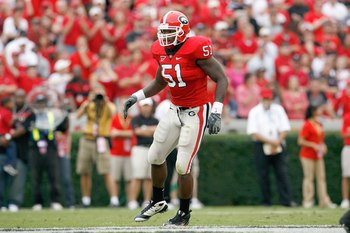 ATHENS, GA - OCTOBER 11:  Akeem Dent #51 of the Georgia Bulldogs moves on field during the game against the Tennessee Volunteers at Sanford Stadium on October 11, 2008 in Athens, Georgia.  (Photo by Kevin C. Cox/Getty Images)