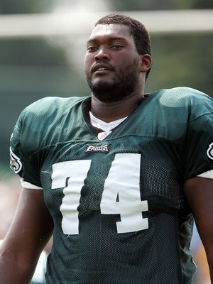 BETHLEHEM, PA - JULY 25:  Winston Justice #74 of the Philadelphia Eagles looks on during training camp on the practice field at Lehigh University on July 25, 2006 in Bethlehem, Pennsylvania.  (Photo by Jim McIsaac/Getty Images)