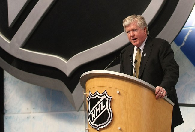 MONTREAL, QC - JUNE 26:  Brian Burke of the Toronto Maple Leafs photographed during the first round of the 2009 NHL Entry Draft at the Bell Centre on June 26, 2009 in Montreal, Quebec, Canada.  (Photo by Bruce Bennett/Getty Images)
