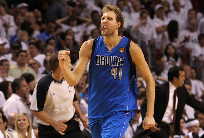 MIAMI, FL - JUNE 12:  Dirk Nowitzki #41 of the Dallas Mavericks reacts after making a jump shot in the fourth quarter while taking on the Miami Heat in Game Six of the 2011 NBA Finals at American Airlines Arena on June 12, 2011 in Miami, Florida. NOTE TO