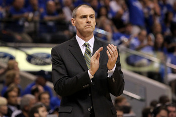 DALLAS, TX - JUNE 09: Head coach Rick Carlisle of the Dallas Mavericks coaches in the first half against the Miami Heat in Game Five of the 2011 NBA Finals at American Airlines Center on June 9, 2011 in Dallas, Texas.  NOTE TO USER: User expressly acknowl